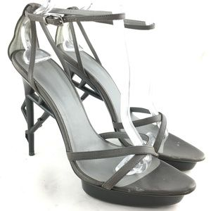 High heel strappy sandal gray sculpted plastic S08